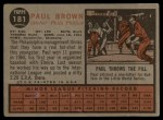 1962 Topps #181 GRN Paul Brown  Back Thumbnail