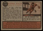 1962 Topps #122 GRN Norm Bass  Back Thumbnail