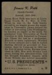 1952 Bowman U.S. Presidents #14  James K Polk    Back Thumbnail