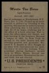 1952 Bowman U.S. Presidents #11  Martin Van Buren   Back Thumbnail