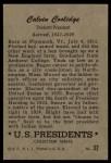 1952 Bowman U.S. Presidents #32  Calvin Coolidge   Back Thumbnail