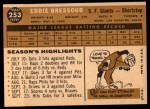 1960 Topps #253  Eddie Bressoud  Back Thumbnail