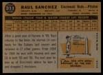 1960 Topps #311  Raul Sanchez  Back Thumbnail