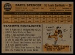 1960 Topps #368  Daryl Spencer  Back Thumbnail