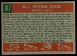 1959 Topps #317   -  Willie Mays / Richie Ashburn NL Hitting Kings Back Thumbnail