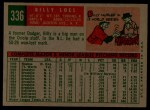 1959 Topps #336 xTR Billy Loes  Back Thumbnail