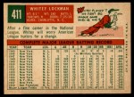 1959 Topps #411  Whitey Lockman  Back Thumbnail