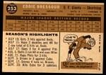 1960 Topps #253  Eddie Bressoud  Back Thumbnail