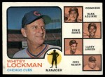 1973 Topps #81 NAT  -  Whitey Lockman / Hank Aguirre / Ernie Banks / Larry Jansen / Pete Resier Cubs Leaders Front Thumbnail