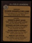 1973 Topps #179 ^ORG^  -  Dick Williams / Jerry Adair / Vern Hoscheit / Irv Noren / Wes Stock A's Leaders Back Thumbnail