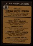 1973 Topps #81 SOL  -  Whitey Lockman / Hank Aguirre / Ernie Banks / Larry Jansen / Pete Resier Cubs Leaders Back Thumbnail