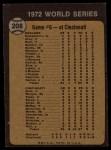 1973 Topps #208   -  Johnny Bench / Denis Menke / Bobby Tolan 1972 World Series - Game #6 - Reds' Slugging Ties Series Back Thumbnail
