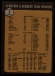 1973 Topps #7   Rangers Team Back Thumbnail