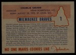 1953 Johnston Cookies #1  Charlie Grimm  Back Thumbnail