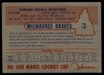 1953 Johnston Cookies #3  Vern Bickford  Back Thumbnail