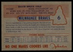 1953 Johnston Cookies #6  Dave Cole   Back Thumbnail