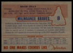 1953 Johnston Cookies #8  Dave Jolly  Back Thumbnail