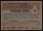 1953 Johnston Cookies #14  Walker Cooper   Back Thumbnail