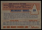 1953 Johnston Cookies #19  Jack Dittmer   Back Thumbnail