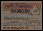 1953 Johnston Cookies #21  Eddie Mathews  Back Thumbnail