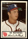 1953 Johnston Cookies #21  Eddie Mathews  Front Thumbnail