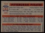 1957 Topps #161   Pirates Team Back Thumbnail