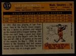 1960 Topps #114  Ken Aspromonte  Back Thumbnail