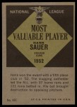 1961 Topps #481   -  Hank Sauer Most Valuable Player Back Thumbnail