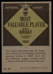 1961 Topps #486   -  Dick Groat Most Valuable Player Back Thumbnail