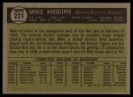 1961 Topps #221  Mike Higgins  Back Thumbnail