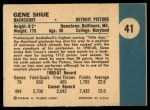 1961 Fleer #41  Gene Shue  Back Thumbnail