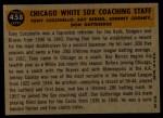 1960 Topps #458   -  Johnny Cooney / Don Gutteridge / Tony Cuccinello / Ray Berres White Sox Coaches Back Thumbnail