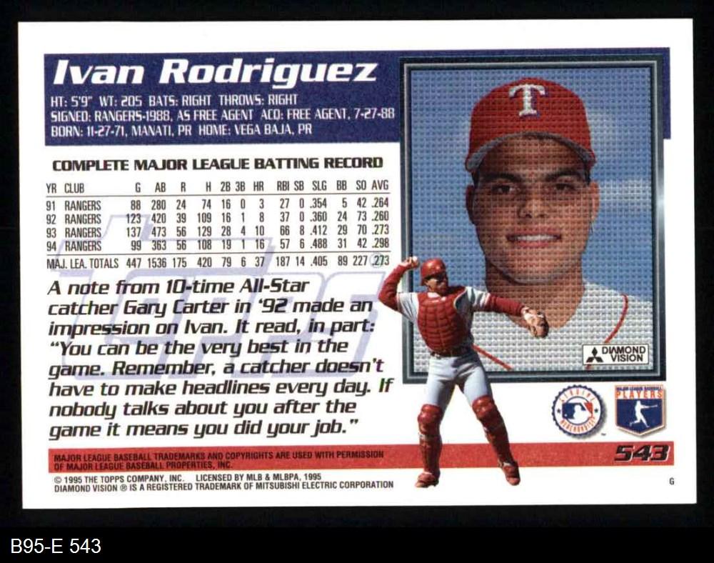 1995 Topps # 1995 Topps Texas Rangers Team Set