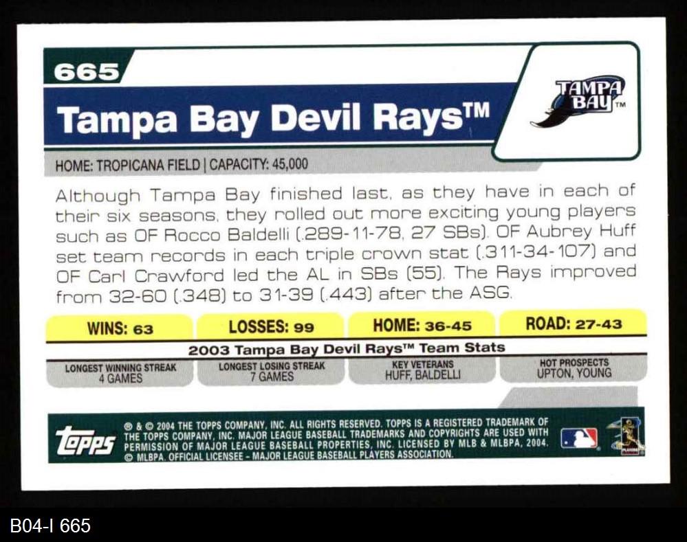 2004 Topps 2004 Topps Tampa Bay Devil Rays Team Set