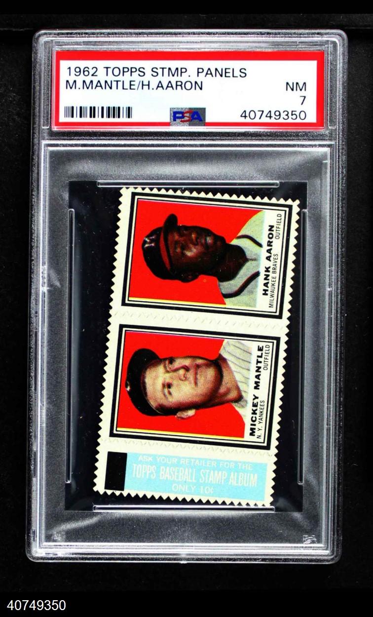 1962 Topps Stamp Panels #  Mickey Mantle / Hank Aaron
