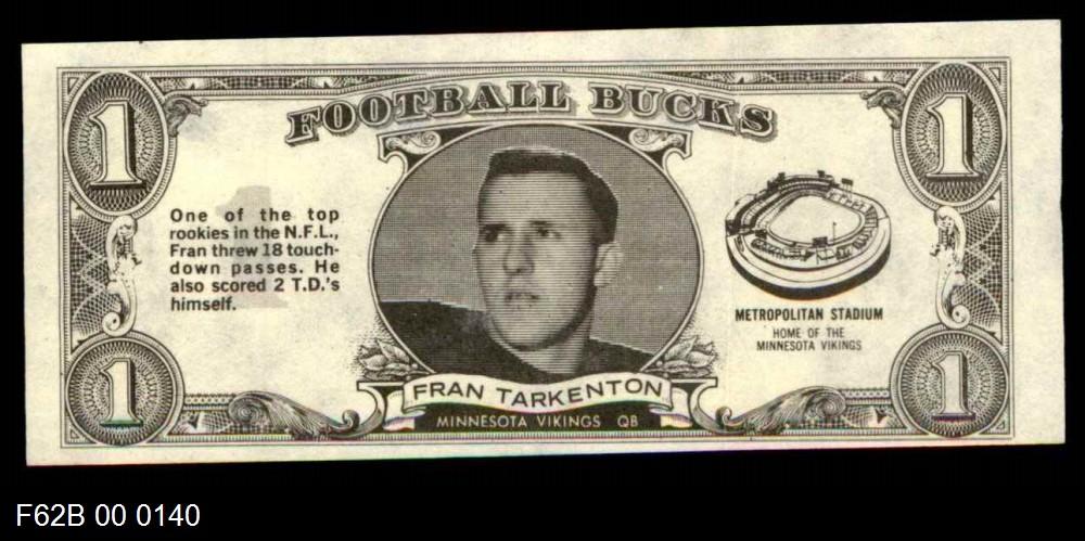 1962 Topps Football Bucks #33  Fran Tarkenton