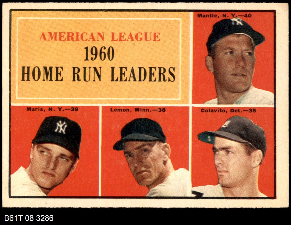 1961 Topps #44 AL HR Leaders  -  Mickey Mantle / Roger Maris / Rocky Colavito / Jim Lemon