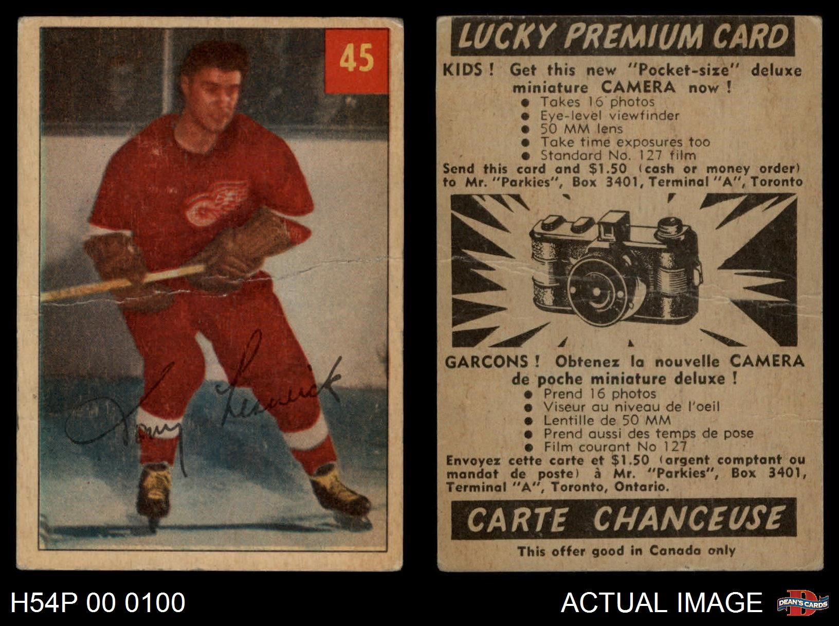 Ebay Canada Carte Hockey.Details About 1954 Parkhurst 45 Tony Leswick Red Wings Good