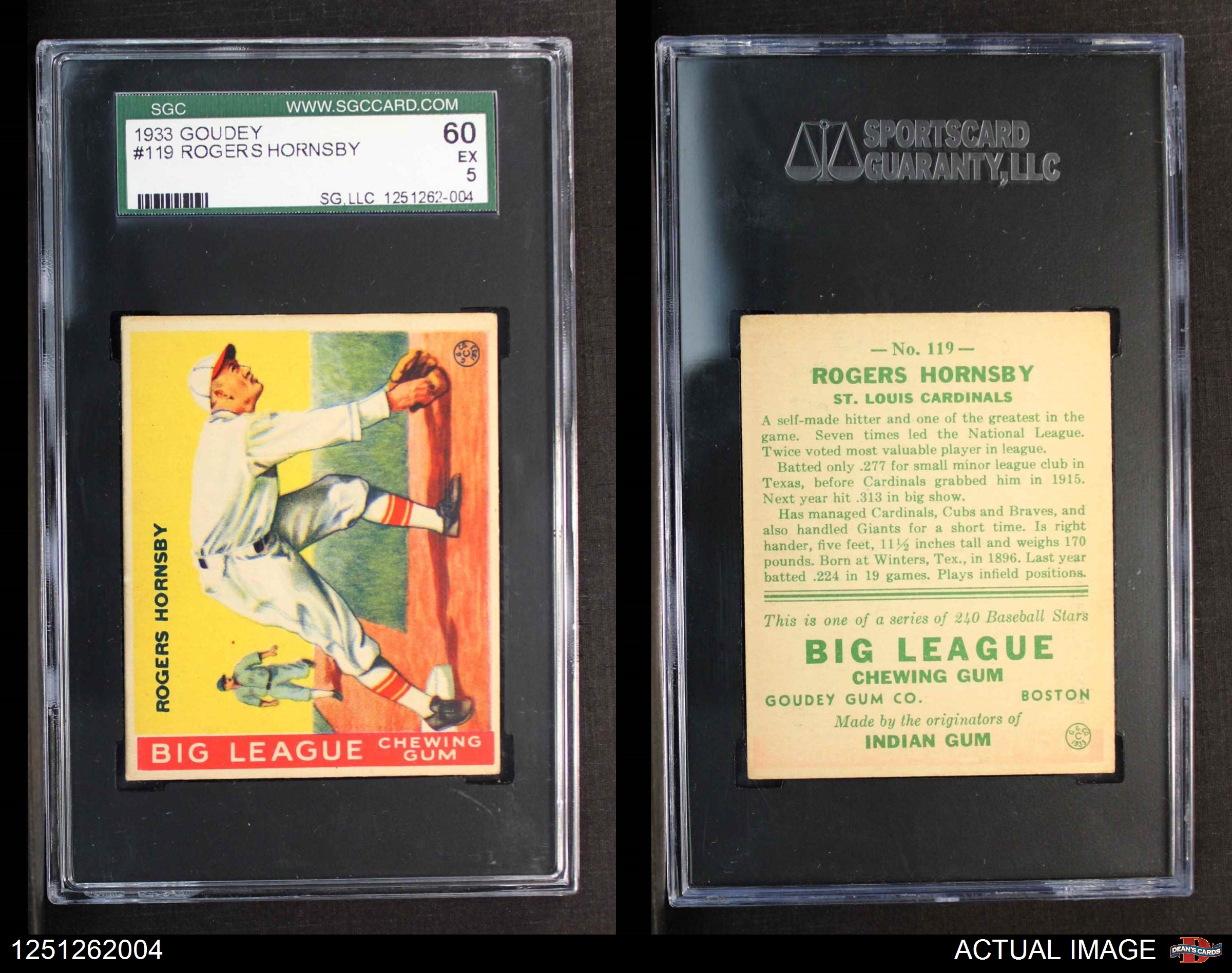 1933-Goudey-119-Rogers-Hornsby-Cardinals-SGC-5-EX thumbnail 2