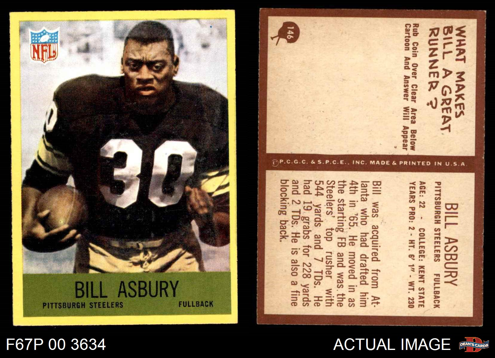 43c192b39c0 Image is loading 1967-Philadelphia-146-Bill-Asbury-Steelers-NM