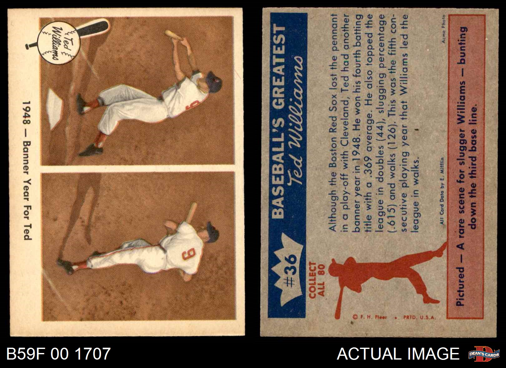 1959 Fleer 36 Ted Williams Banner Year Red Sox Ex Ebay