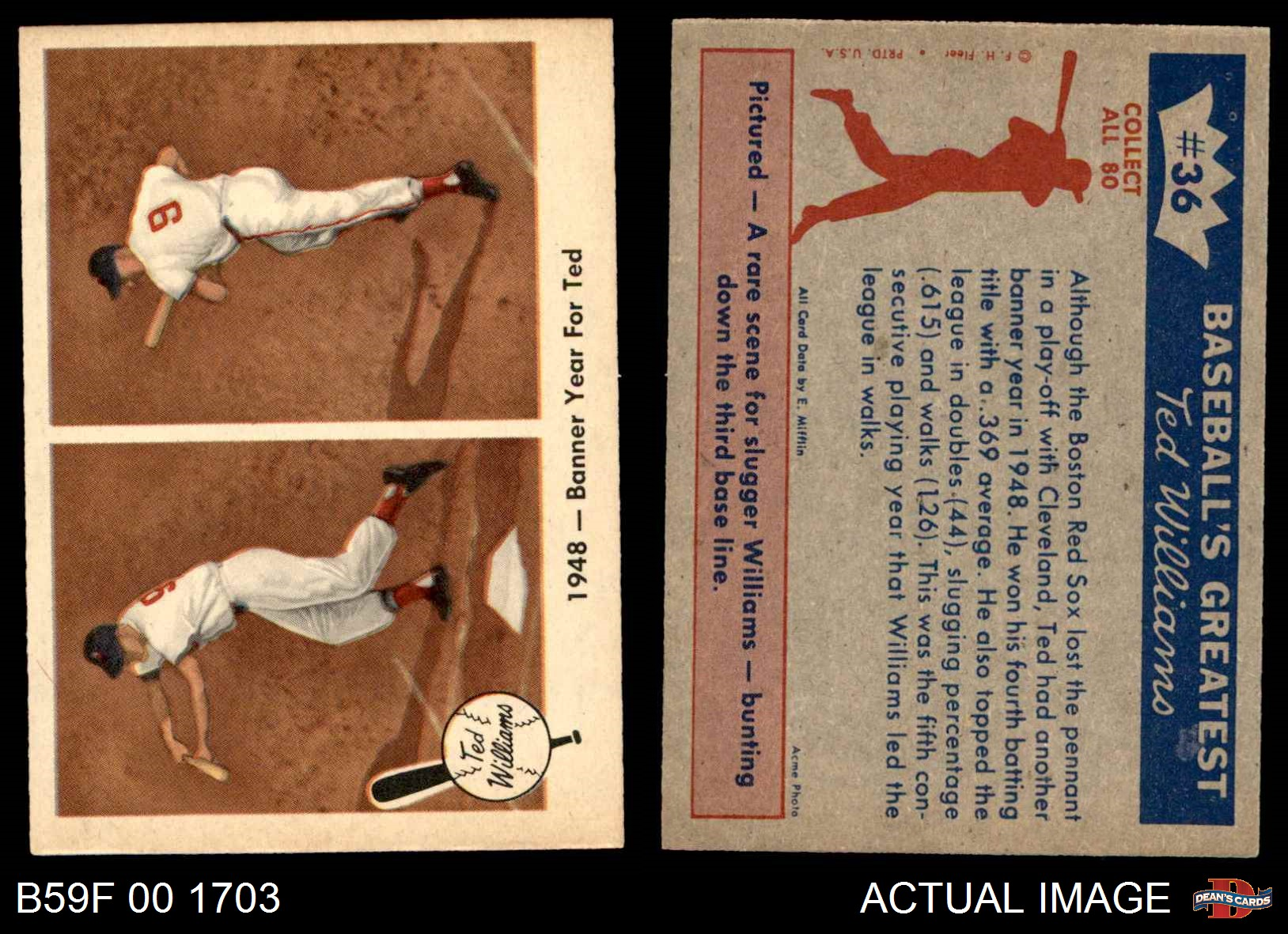 1959 Fleer 36 Ted Williams Banner Year Red Sox Ex Mt Ebay