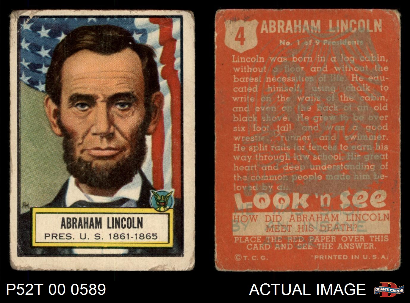 1952 Topps Look \'N See #4 Abraham Lincoln FAIR | eBay