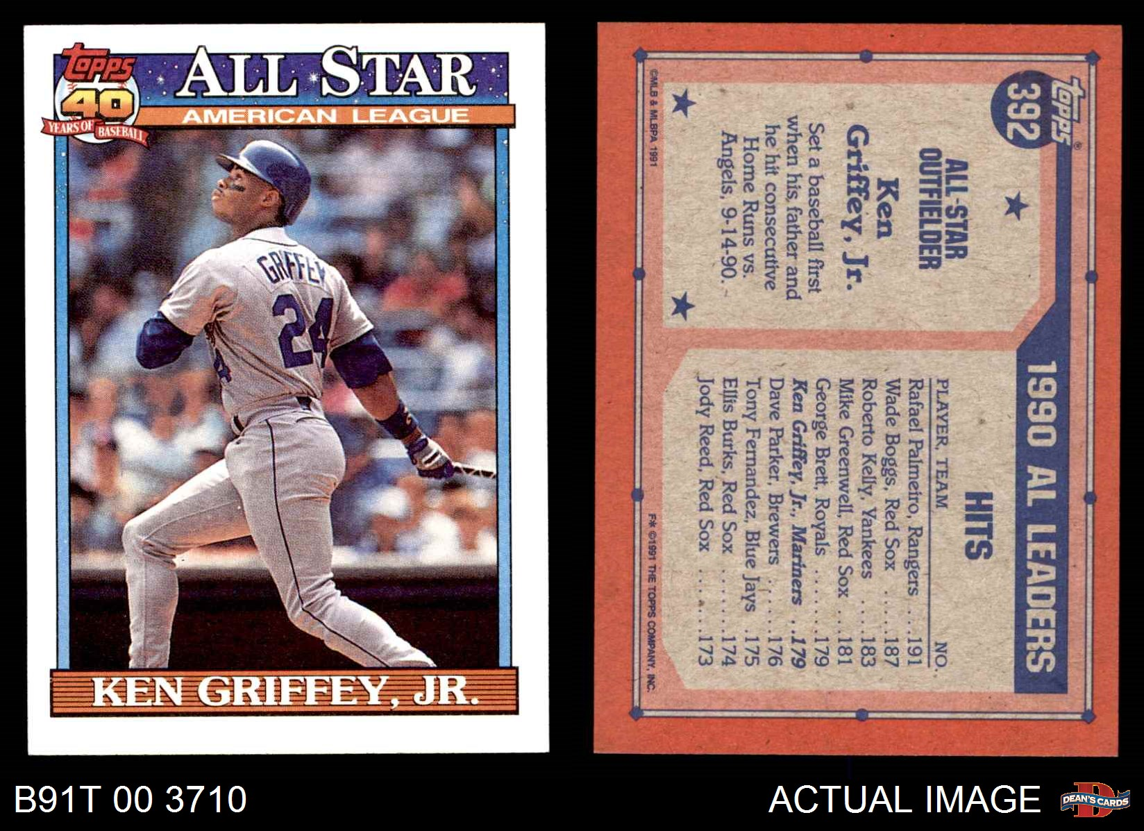 4dab4368b1 1991 Topps #392 Ken Griffey Jr. - All-Star Mariners NM/MT | eBay