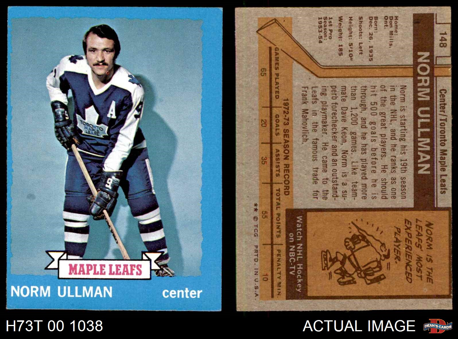 1973-Topps-148-Norm-Ullman-Maple-Leafs-EX