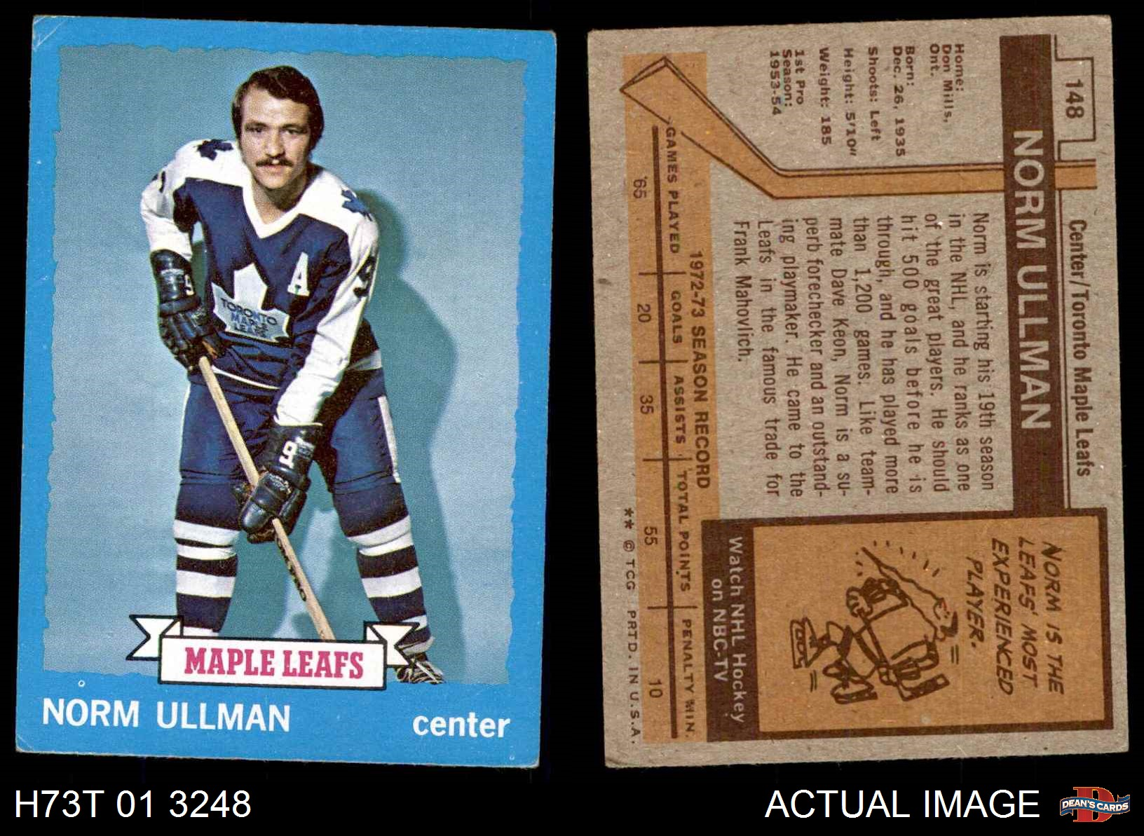1973-Topps-148-Norm-Ullman-Maple-Leafs-VG-EX