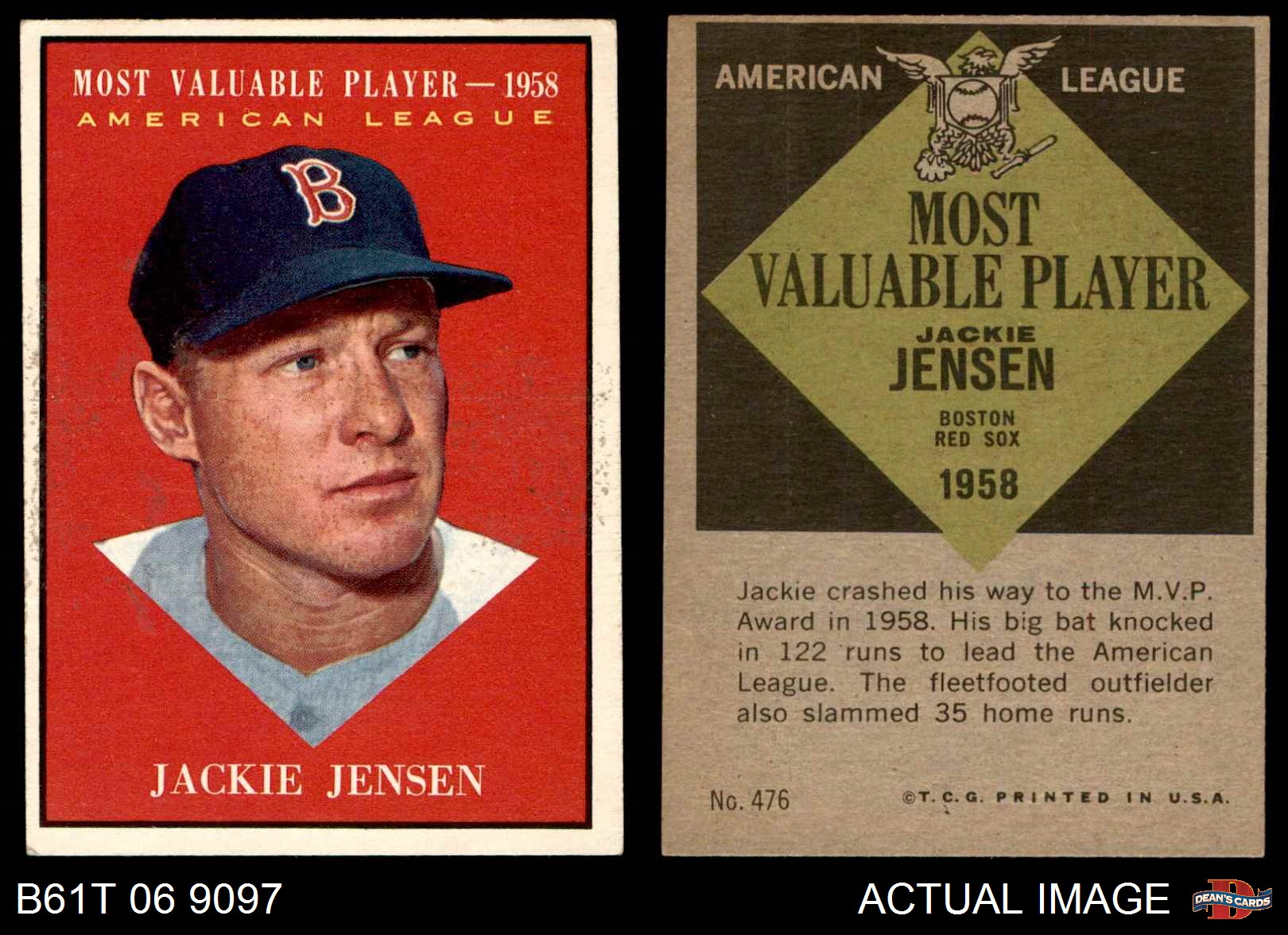Details About 1961 Topps 476 Jackie Jensen Most Valuable Player Red Sox Ex