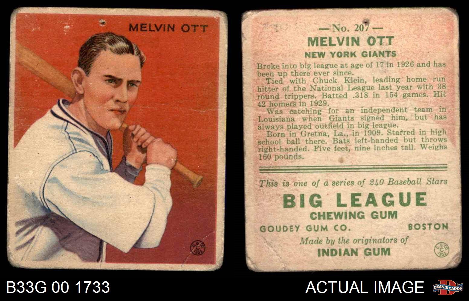 1933-Goudey-207-Mel-Ott-Giants-FAIR thumbnail 2