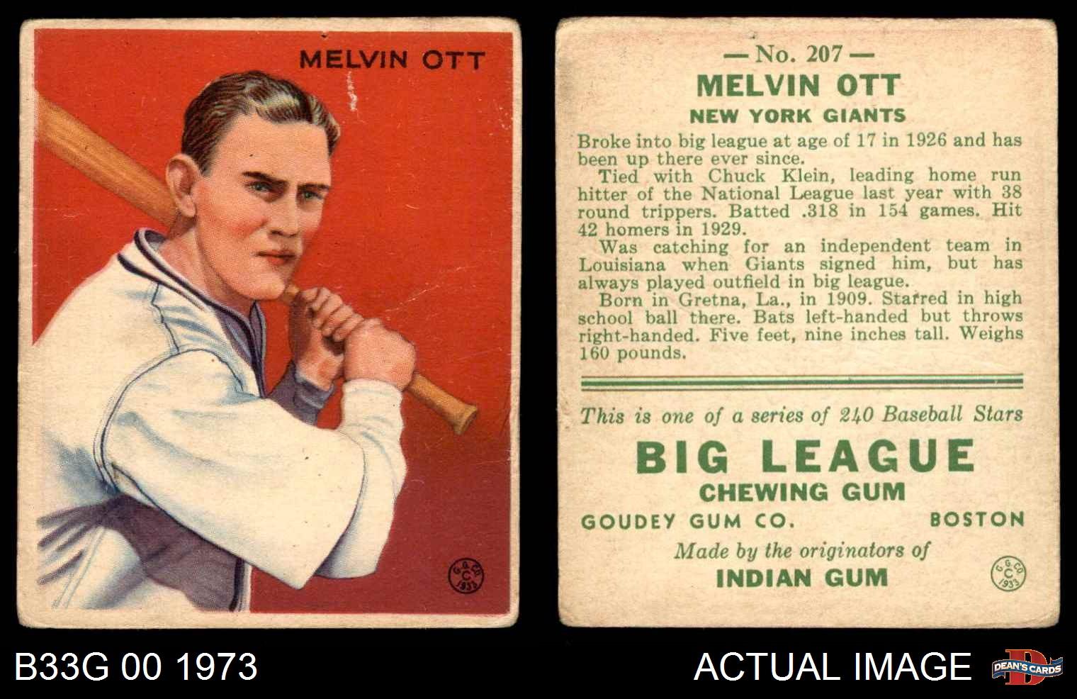1933-Goudey-207-Mel-Ott-Giants-FAIR thumbnail 3