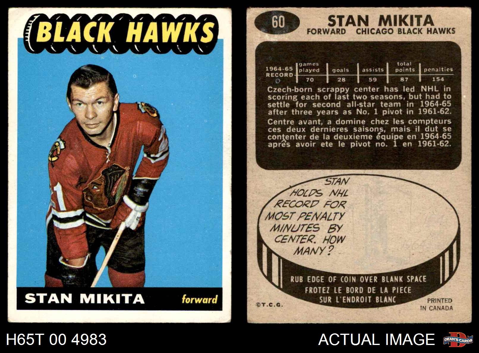 1965-Topps-60-Stan-Mikita-Blackhawks-VG-EX